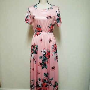 Women's Pink Floral Maxi Dress Size Large